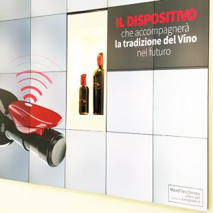 A high-tech collar placed on bottles of exclusive wine that monitors the life of the product